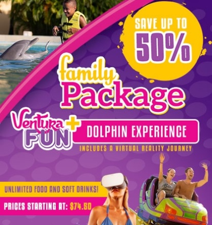 Family Package! Ventura Park Cancun plus Swim with Dolphins